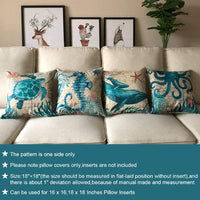 ULOVE LOVE YOURSELF Mediterranean Style Throw Pillow Case Sea Theme Decorative Square Cotton Linen Coastal Cushion Cover for 18 X 18 Inch Pillow Inserts, 4Pack Nautical Pillow Covers
