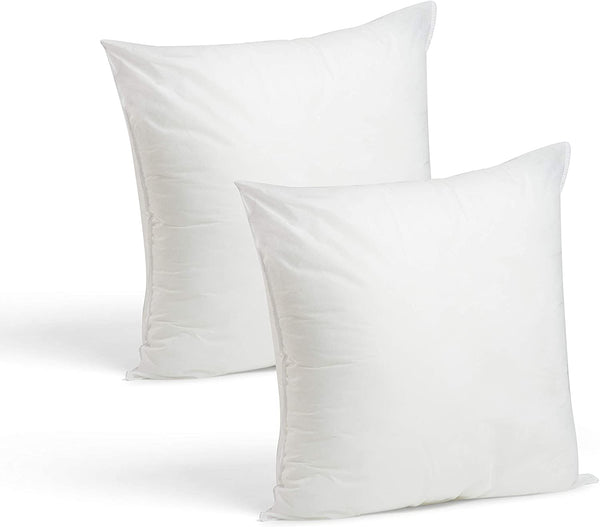 Set of 2-18 x 18 Premium Hypoallergenic Stuffer Pillow Insert Sham Square Form Polyester, Standard/White - Made in USA