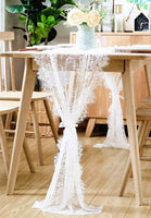 BOXAN 30x120 Inch Vintage White Lace Wedding Table Runner with Rose Floral Table Overlay for Rustic Boho Wedding Reception Table Decor, Chic Bridal Shower Baby Shower Birthday Party Table Decorations