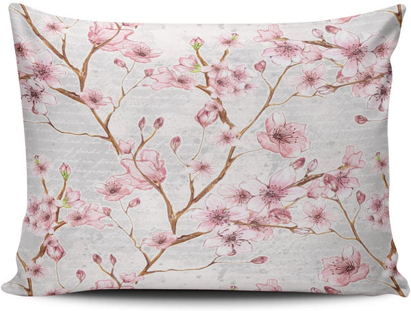 Fanaing Bedroom Custom Decor Cherry Blossom Pillowcase Soft Zippered Pink and Gray Throw Pillow Cover Cushion Case Fashion Design One-Side Printed Boudoir 12x18 Inches