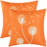 CaliTime Pack of 2 Canvas Throw Pillow Covers Cases for Couch Sofa Home Decoration Solid Dandelion Print Both Sides 18 X 18 Inches Sun Orange