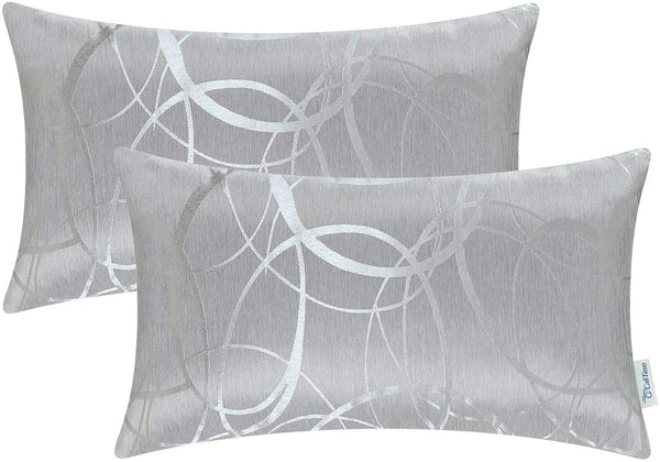 CaliTime Pack of 2 Cushion Covers Bolster Pillow Cases Shells for Couch Sofa Home Decor Modern Shining & Dull Contrast Circles Rings Geometric 12 X 20 Inches Silver Gray