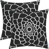 CaliTime Pack of 2 Soft Canvas Throw Pillow Covers Cases for Couch Sofa Home Decor Dahlia Floral Outline Both Sides Print 16 X 16 Inches Medium Grey