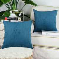 CaliTime Pack of 2 Cozy Throw Pillow Covers Cases for Couch Bed Sofa Ultra Soft Corduroy Striped Both Sides 16 X 16 Inches Ocean Blue