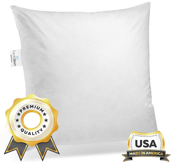 ComfyDown 95% Feather 5% Down, 16 X 16 Square Decorative Pillow Insert, Sham Stuffer - Made in USA