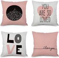 Happy Mother's Day Throw Pillow Covers, 18 x 18 Inches for Sofa, Bench and Bed for Girls, Home Decorative Accent Cushion Cases Sef of 4 (Pink Love)