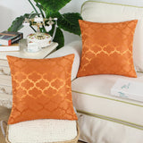 CaliTime Pack of 2 Cushion Covers Throw Pillow Cases Shells for Home Sofa Couch Modern Shining & Dull Contrast Quatrefoil Accent Geometric 16 X 16 Inches Bright Orange
