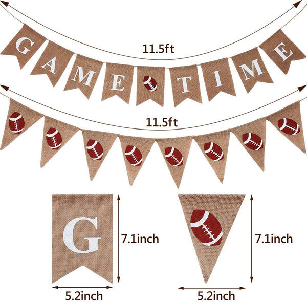 2 Pieces Football Game Time Banner Football Bunting Banner Sports Burlap Banner Rustic Football Decoration for Football Theme Baby Shower Gender Reveal Party
