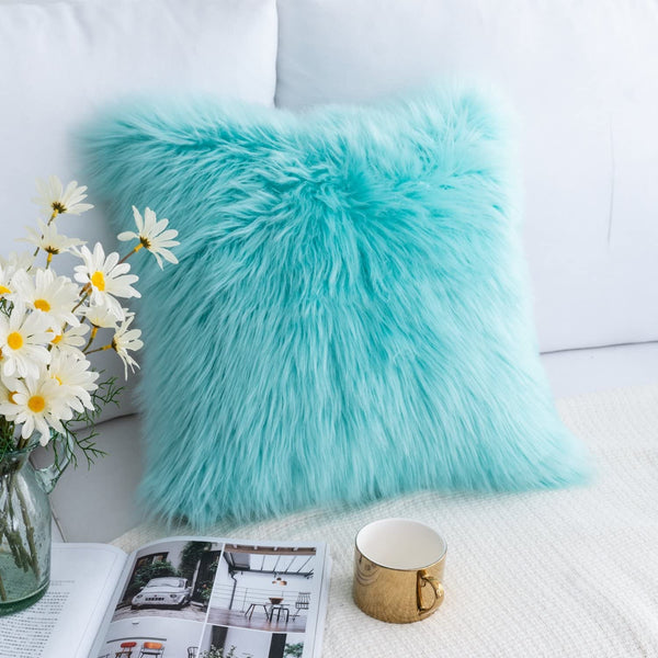 Foindtower Mongolian Plush Faux Fur Square Decorative Throw Pillow Cover Cushion Case New Luxury Series Merino Style for Livingroom Couch Sofa Nursery Bed Home Decor 18x18 Inch (45x45cm) Turquoise