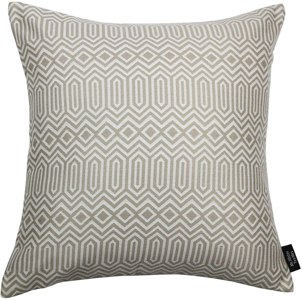 McAlister Textiles Colorado | Woven Pillow Cover Sham in Natural Taupe | Square 26x26 Inches | Tribal Geometric Decorative Cushion Case for Bed and Couch Modern Aztec Accent, Moroccan Decor