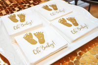 100 Baby Shower Napkins Oh Baby Beverage Napkins 3-Ply Gold Feet White Paper Cocktail Napkins for Boy and Girl Baby Shower by Gift Boutique