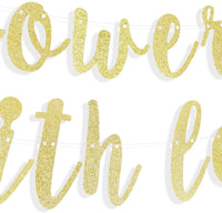LINGTEER Showered with Love Gold Glitter Bunting Banner Perfect for Baby Shower Birthday Party Backdrop Decorations Sign.