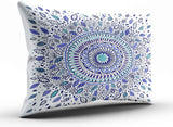 Hoooottle Custom Royal Modern Blue and White Indigo Flowered Mandala Boudoir Pillowcase Rectangle Zippered One Side Printed 12x20 Inches Throw Pillow Case Cushion Cover