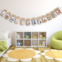 Bememo 1st Birthday Baby Photo Banner for Newborn 12 Month Photo Prop Monthly Milestone Bunting Garland First Birthday Party Decoration