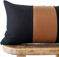 Woven Nook Decorative Lumbar Throw Pillow Cover ONLY for Couch, Sofa, or Bed Modern Quality Design Faux Leather and Cotton Mali Lumbar (12'' x 20'')