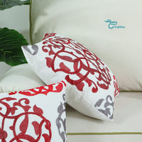 CaliTime Cotton Throw Pillow Case Cover for Bed Couch Sofa Vintage Compass Geometric Floral Embroidered 18 X 18 Inches Red Gray