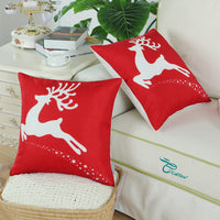 CaliTime Pack of 2 Soft Canvas Throw Pillow Covers Cases for Couch Sofa Home Decoration Christmas Holiday Reindeer with Stars Print 16 X 16 Inches Christmas Red