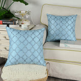CaliTime Pack of 2 Faux Silk Throw Pillow Covers Cases for Sofa Couch Home Decoration 18 X 18 Inches Gradient Quatrefoil Accent Geometric Chain Embroidered Light Blue