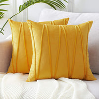 Top Finel Decorative Hand-Made Throw Pillow Covers Soft Particles Velvet Solid Cushion Covers 18 X 18 for Couch Bedroom Car, Pack of 2, Mustard Yellow
