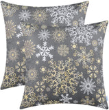 CaliTime Pack of 2 Cozy Fleece Throw Pillow Cases Covers for Couch Bed Sofa Christmas Snowflakes Both Sides 18 X 18 Inches Christmas Red