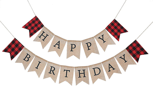 WAOUH Happy Birthday Burlap Banner for Lumberjack - 1st Birthday Decoration for Woodland Bear, Party Supplies for First Birthday, Happy Birthday to Baby Girl Or Boy