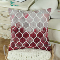 CaliTime Pack of 2 Cozy Throw Pillow Cases Covers for Couch Bed Sofa Farmhouse Manual Hand Painted Colorful Geometric Trellis Chain Print 16 X 16 Inches Main Grey Red Burgundy