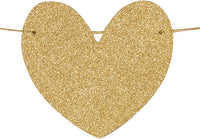 CC Party Co. Oh Baby Gold Glitter Baby Shower Banner with Removable Heart on Gold Twine | baby shower pregnancy announcement | gender reveal party decorations | neutral boy girl sprinkle
