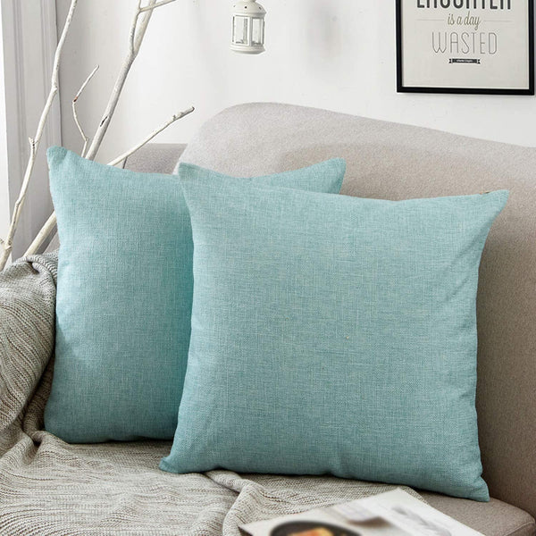 Jepeak Comfy Throw Pillow Covers Cushion Cases Pack of 2 Cotton Linen Farmhouse Modern Decorative Solid Square Pillow Cases for Couch Sofa Bed (Light Teal, 16 x 16 Inches)