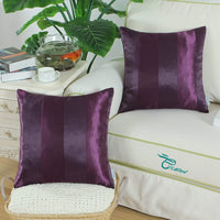 CaliTime Pack of 2 Cushion Covers Throw Pillow Cases Shells for Couch Sofa Home Decoration Modern Shining & Dull Contrast Striped 18 X 18 Inches Deep Purple