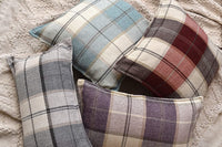 Something to Treasure Rustic Plaid Pillow Cover, Plaid Throw Pillow Cover 18x18, Decorative Blue/Cream Plaid Throw Pillow Covers 18x18, Blue Cream Plaid 18x18 Throw Pillow for Couch