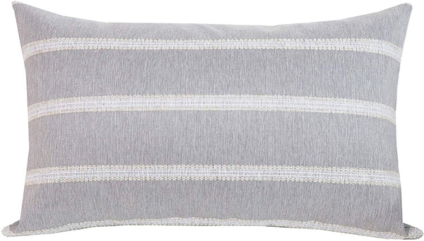 SLOW COW Rectangular Throw Pillow Cover Decorative Textured Lumbar Accent Cushion Cover for Couch Sofa 12 x 20 Inches Gray