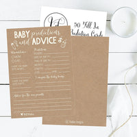 50 Rustic Advice and Prediction Cards for Baby Shower Game, New Mom & Dad Card or Mommy & Daddy to Be, for Girl or Boy Babies, New Parent Message Advice Book, Fun Gender Neutral Shower Party Favors