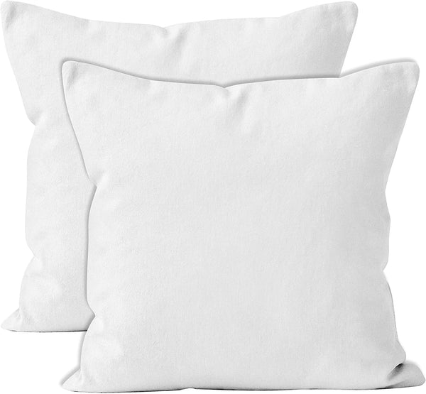 ENCASA Homes Throw Cushion Cover 2pc Set - White - 18 x 18 inch Solid Dyed Cotton Canvas Square Accent Decorative Pillow Case for Couch Sofa Chair Bed & Home