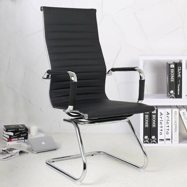 1/2Pcs High Back Conference Chair Meeting Room Waiting Room Chair Chrome Legs UK