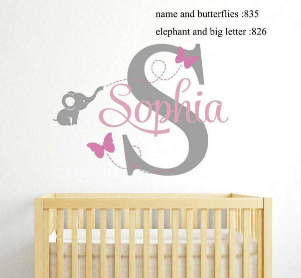 Custom Personalised Name Decal Wall Decals Baby Bedroom Elephant Vinyl Decor New