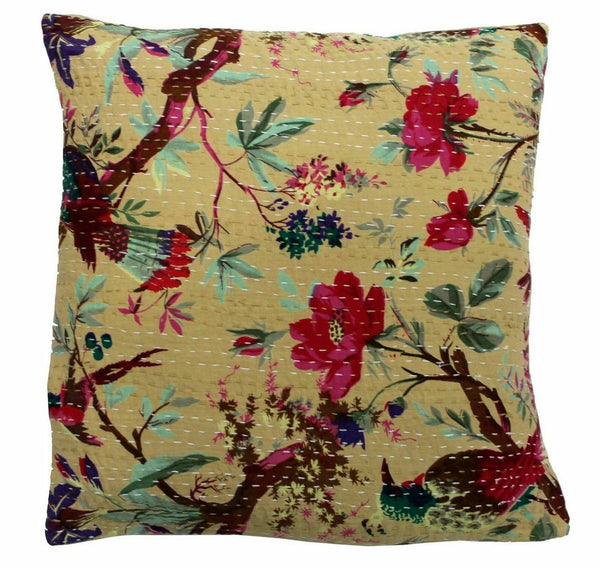 100%Cotton Bed Pillow Decor Kantha Work Indian Art Home Cushion Cover Sofa-Throw