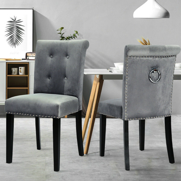 1/2/4 Velvet Occasional Accent Chairs Dining Chair Knocker Back Studded Chair UK