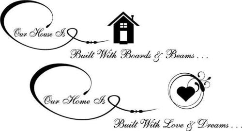 Our house is Built with Vinyl Wall Home Decor Decal Quote Inspirational Adorable