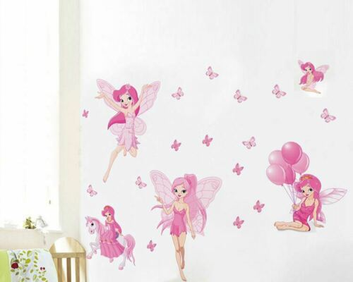 Pink Fairies Wall Stickers Removable Kids Baby Decals Nursery Decor Art Mural