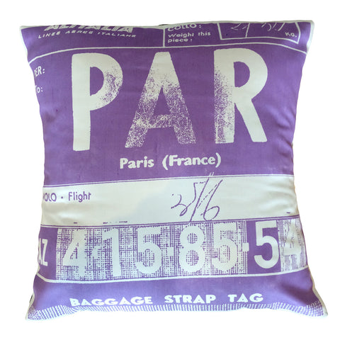 Paris Luggage Tag Cushion Cover