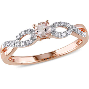 1/6 CARAT MORGANITE AND DIAMOND ROSE-PLATED STERLING SILVER RING