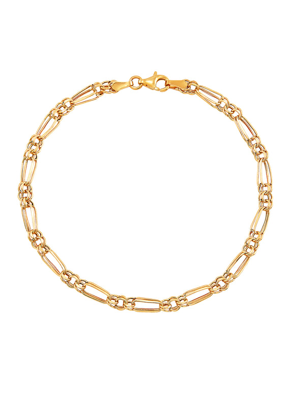 10K YELLOW GOLD POLISHED ALTERNATING OVAL AND ROUND LINKS BRACELET picktookshop.myshopify.com [gogle] [sale] [online]