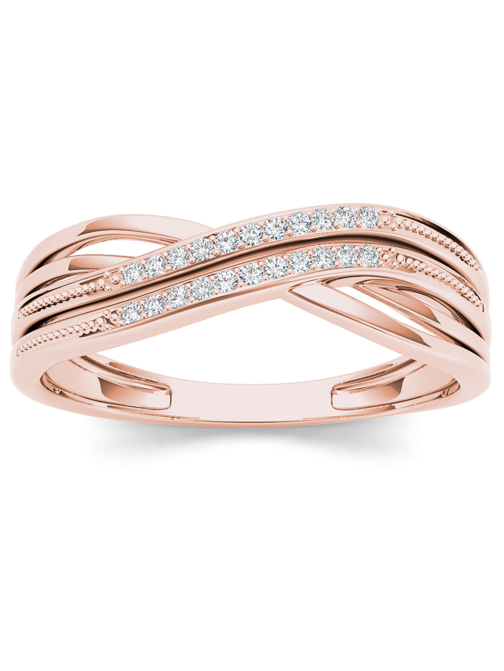 1/20CT TDW DIAMOND RIBBON CROSSOVER 10K ROSE GOLD FASHION RING picktookshop.myshopify.com [gogle] [sale] [online]