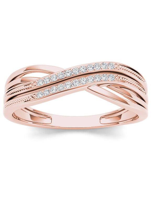 1/20CT TDW DIAMOND RIBBON CROSSOVER 10K ROSE GOLD FASHION RING