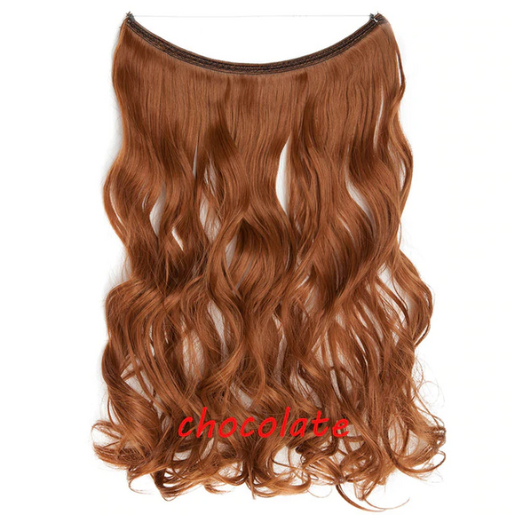 20 inch Invisible Wire No Clip One Piece Halo Hair Extension flip in false hair Hairpieces Synthetic hair for women