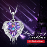 Fashion Women 925 Sterling Silver Necklace with Purple Crystal Angel Wings