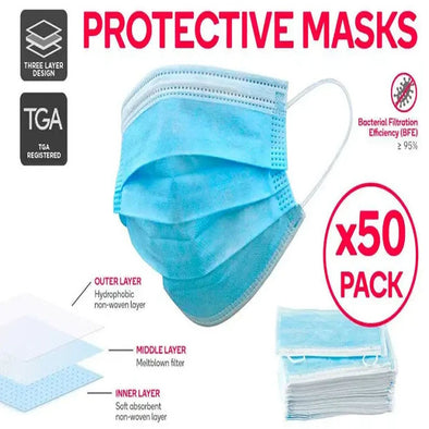 3 Ply Medical Protective Disposable Face Mask (50 Pack)