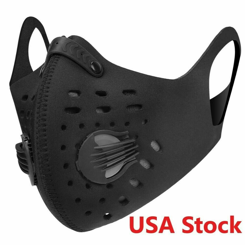 Face Mask Reusable Cover 2 Exhalation Valves Unisex with Activated Carbon Filter