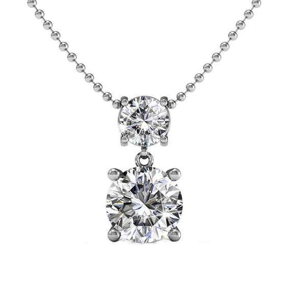 Beautiful Double Solitaire Round Diamond Cut Crystals, Wedding Anniversary Fashion Statement Necklace