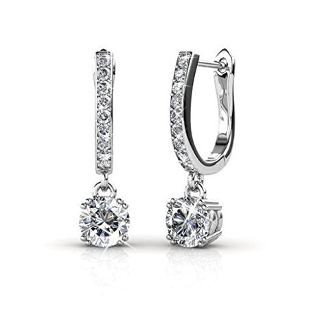 18k White Gold Dangling Earrings , Best Silver Drop Earrings for Women